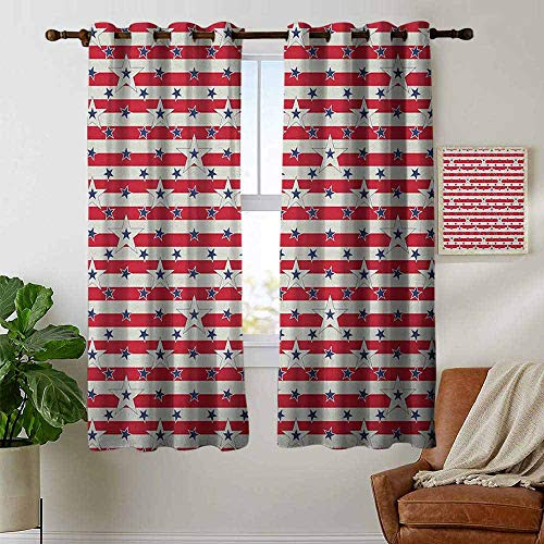 petpany Window Curtain Fabric USA,Patriotic Pattern Love My Country Continent American Federal Freedom Image, Coconut Navy Blue Red,Rod Pocket Curtain Panels for Bedroom & Living Room 42