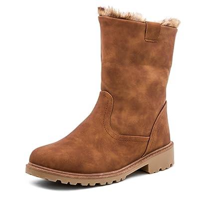 7167a0fa446c2e Marimo Damen Stiefel Stiefeletten Worker Boots in hochwertiger Lederoptik  warm gefüttert Camel 38