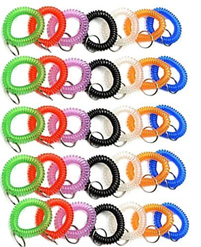 [Pack of 35 Stretchable Plastic Bracelet Wrist Coil Wrist band Key Ring Chain Holder Tag (7 COLORS MIXED)] (Wrist Coil Key Ring)