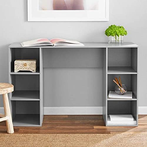 Mainstays Student Desk – Home Office Bedroom Furniture Indoor Desk – Easy Glide Accessory Drawer Desk Only, Rodeo Oak 6 Cube Computer Desk, Gray
