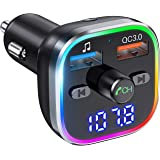 Weback Bluetooth FM Transmitter for Car, BT 5.0 &QC3.0 Wireless Bluetooth FM Audio Adapter Music Player Car Kit with LED Back