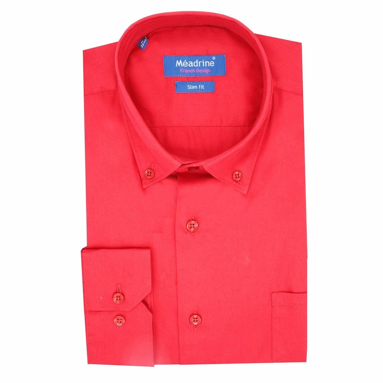 Meadrine Chemise Homme Slim-fit Couleur Rouge Vif Unie avec Mini Poche Decorative Cote Coeur