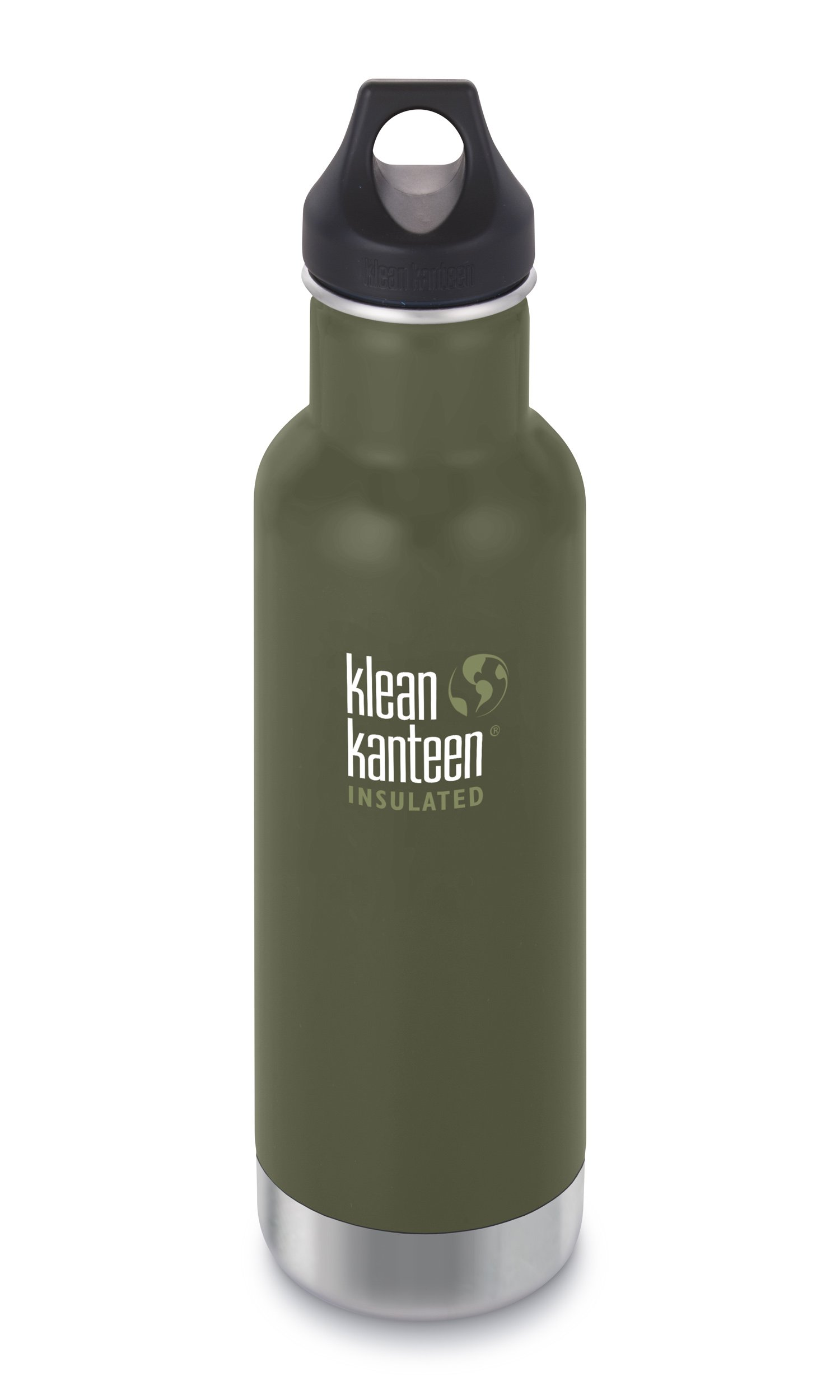 Klean Kanteen Classic Insulated Stainless Steel Water Bottle with Klean Coat and Leak Proof Loop Cap - 20oz - Fresh Pine