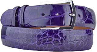product image for John Allen Woodward Purple Alligator Belt Strap with Sterling Silver Belt Buckle