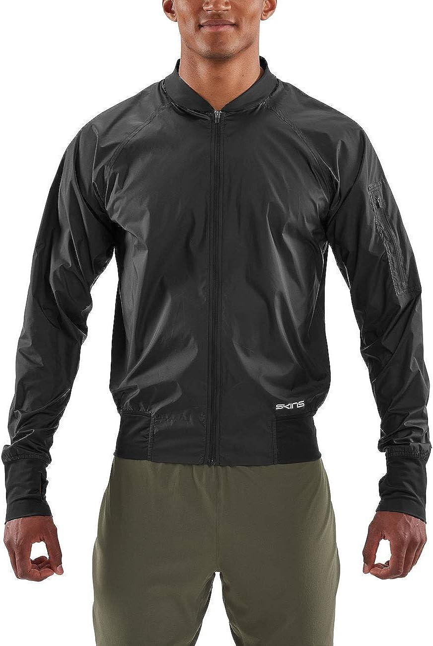 Skins Men/'s Activewear Orsa Mens Bomber Run Jacket Black L Large Black