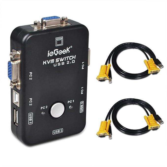 2 Port USB KVM Switch Box VGA + 2Stk Kabel für PC: Amazon.de ...