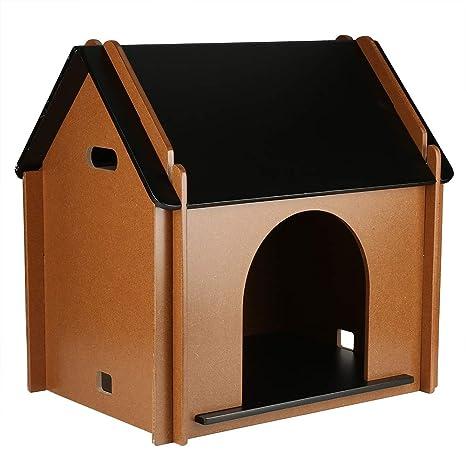 EBTOOLS casa de Madera para Mascotas Perro Gato Desmontable Decorativo caseta de Perro cabaña para Animal doméstico para Interior 51 x 38 x 52 cm