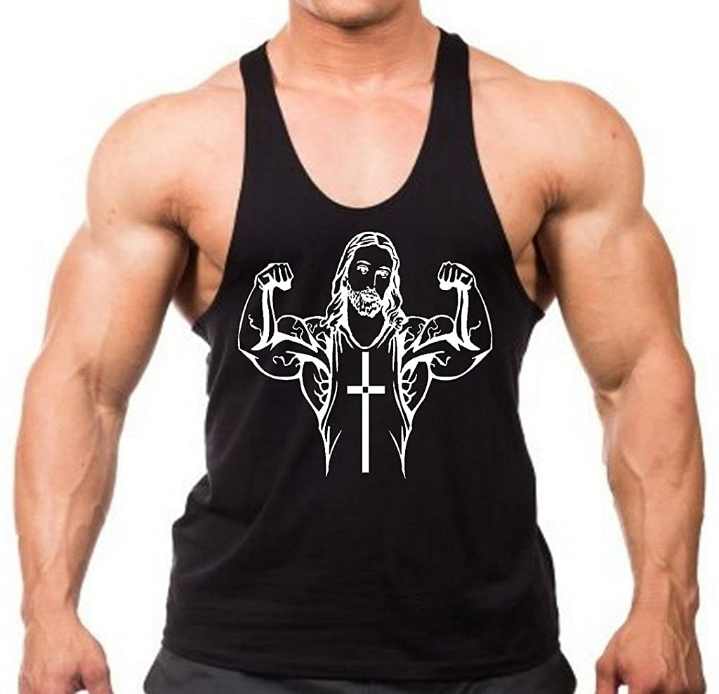 Interstate Apparel Inc Buff Jesus Muscle Flex Mens Black Stringer Tank Top Black