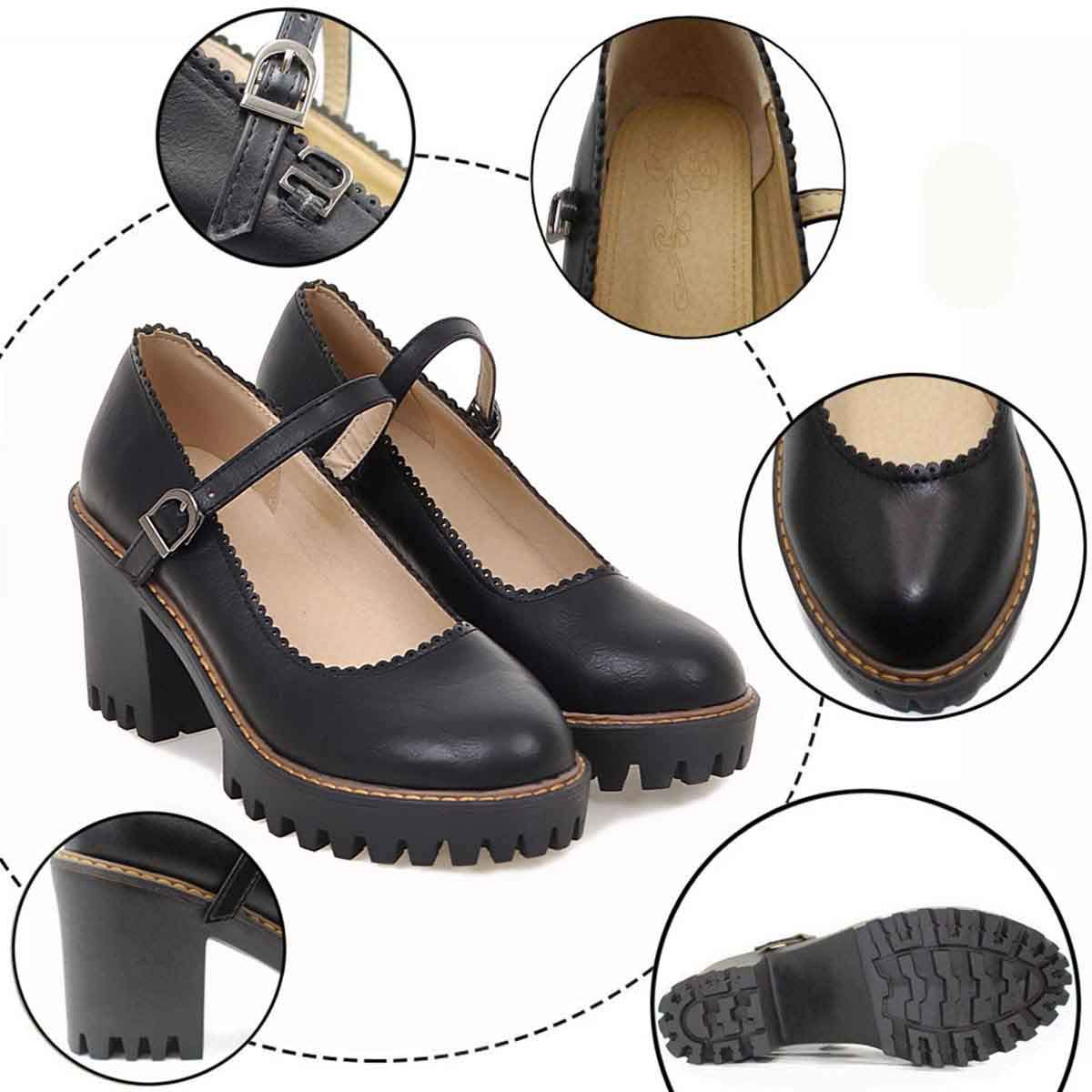 HSNA Escarpins Femme Ferm/é Toe Mary Jane Chaussures Fille Rond Plateforme Boucle Bloc Talon avec 5 cm 34-39 EU