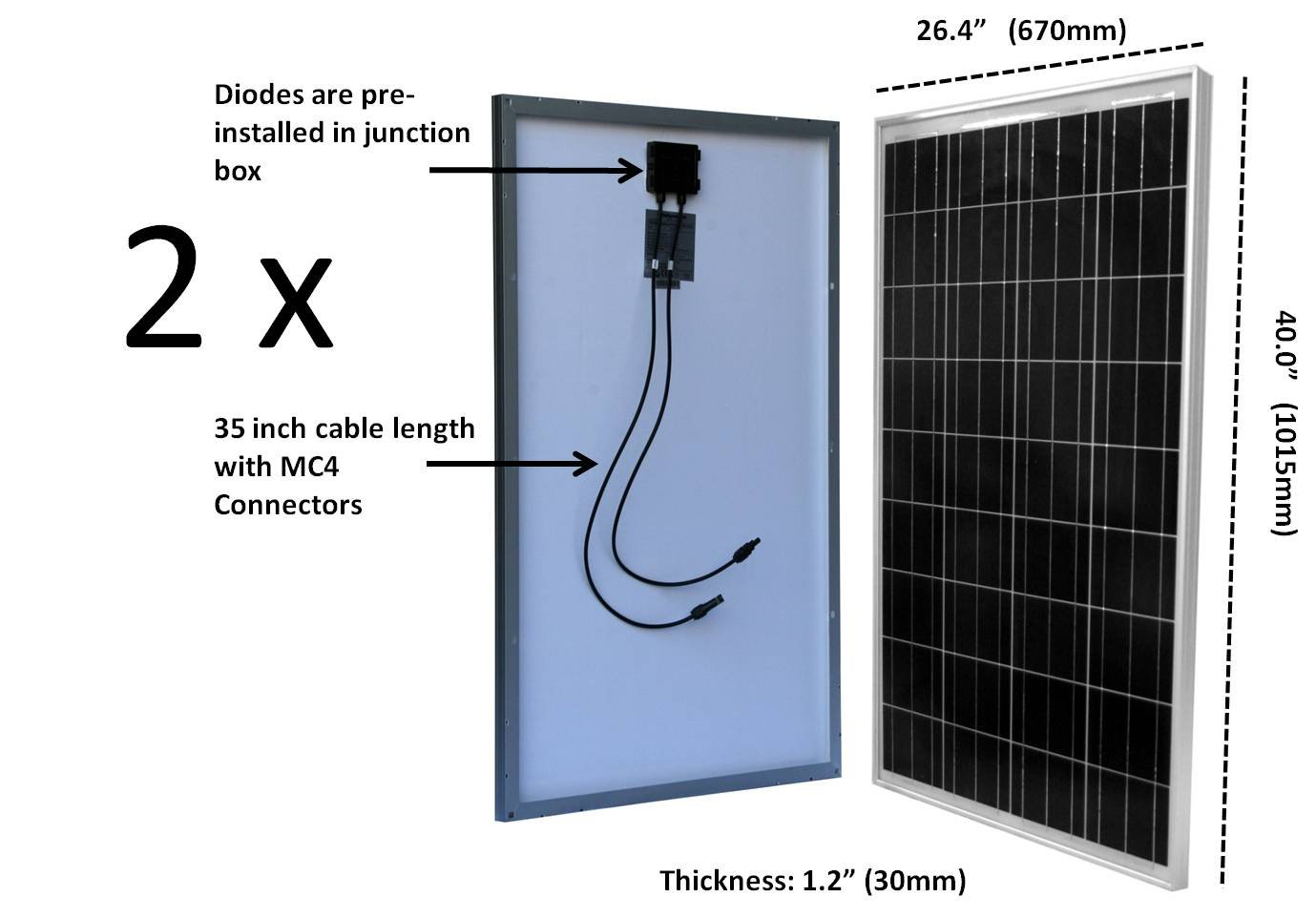 WindyNation 200 Watt Solar Panel Kit: 2pcs 100W Solar Panels + P30L LCD PWM Charge Controller + Solar Cable + MC4 Connectors + Mounting Brackets for Off-Grid RV Boat by WindyNation (Image #1)