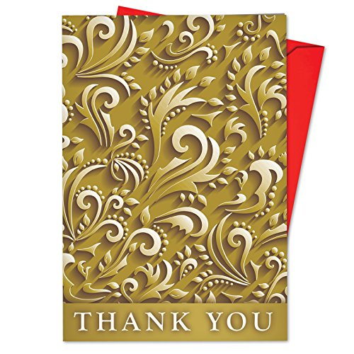 Patterned Envelopes (B6712JXTB Box Set of 12 Golden Holidays Humor Blank Christmas Note Card Featuring Elegant Gold Patterned Backgrounds; with Envelopes)