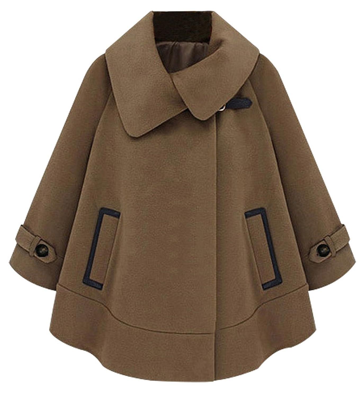 URqueen Women's Loose Fur Collar Wool Cashmere Cloak Cape Jacket Coat