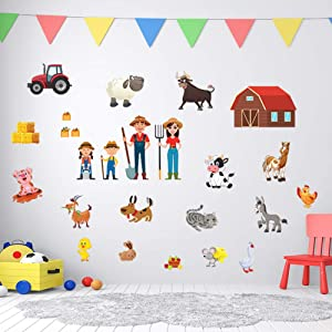 Family Farm Adhesive Wall Decals - JesPlay Wall Décor Stickers for Kids & Toddlers Include Farm Animals, Pig, Rooster & More - Removable Wall Decor for Bedroom, Living Room, Nursery, Classroom