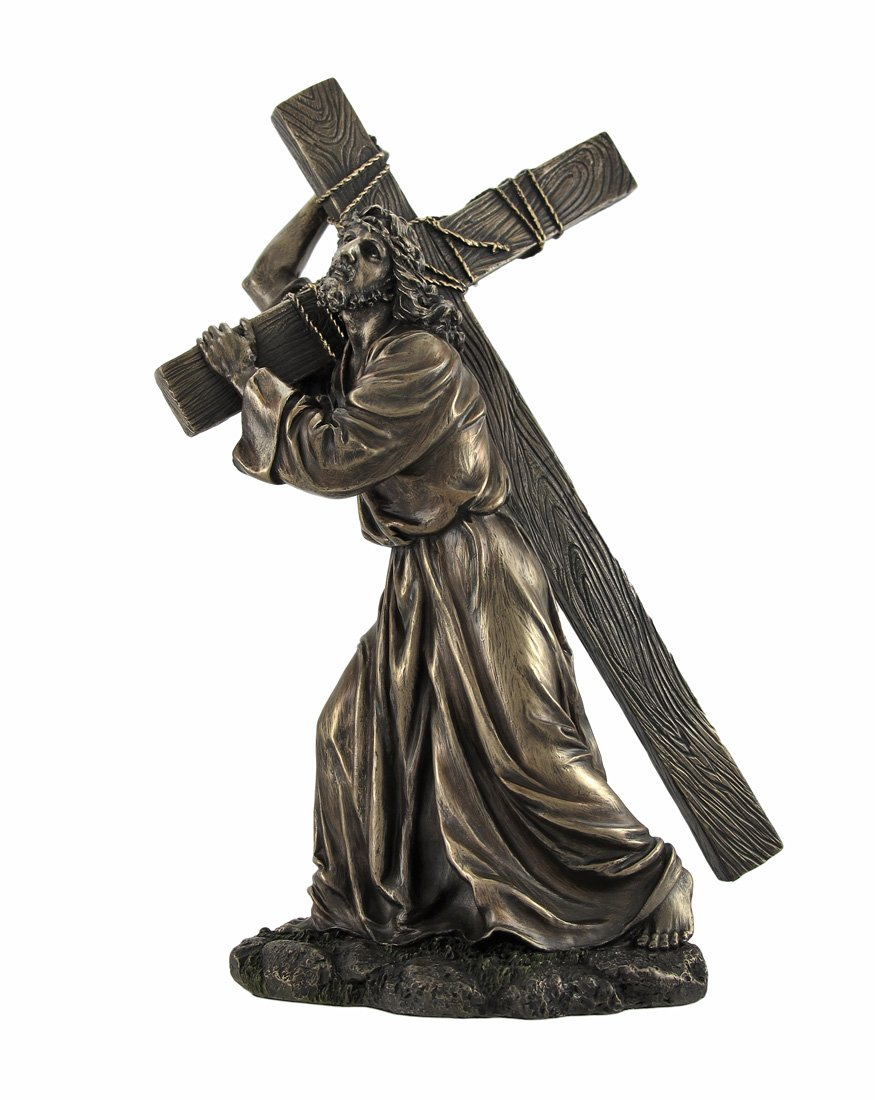 Bronzed Jesus on the Way to Calvary Statue