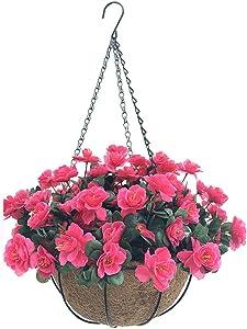 Lopkey Outdoor Artificial Red Azalea Bush Flower Patio Lawn Garden Hanging Basket with Chain Flowerpot,Rose Red