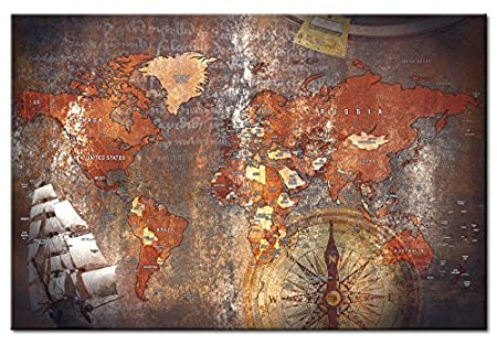 murando World map with pinboard 90x60 cm 1 Piece Print on Canvas Beaverboard Canvas Practical pinboard to Pinching Your Notes World map k-A-0057-v-d
