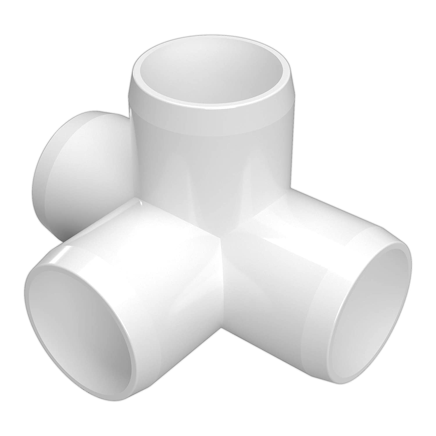 "FORMUFIT F0344WT-WH-8 4-Way Tee PVC Fitting, Furniture Grade, 3/4"" Size, White (Pack of 8)"