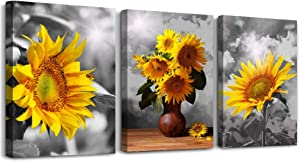 3 Piece Wall Art for Bedroom Canvas Prints Artwork Bathroom Wall Decor Black and White Sunflower wall decorations for Living Room,12x16 inch/piece,3 Panels Pastoral scenery Home decoration painting