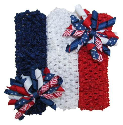 Patriotic Crochet Headbands with Mini Korker Hair Bows for 4th of July
