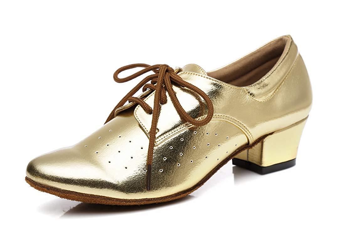 Qiusa Frauen Lace-up atmungsaktiv atmungsaktiv atmungsaktiv Block niedrigen Ferse Ballroom Latin Dance Schuhe Gold UK 4 (Farbe   - Größe   -) 289f2c