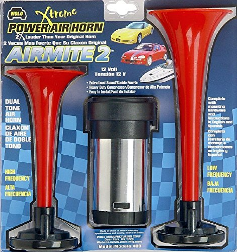 Wolo (400) Airmite 2 Power Air Horn - 12 Volt, Low and High Tone (Air Relay Horn)