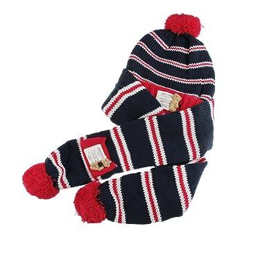 2fef9d49f87 2Pcs Kids Hat Scarf Set Toddler Boy Girls Beanie Hat Winter Warm Bear  Pattern Knit Bobble