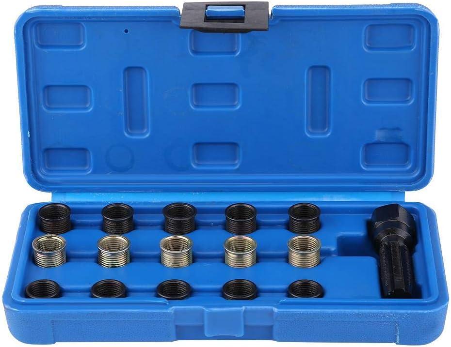 Spark Plug Thread Repair Rethreading Set 16Pcs 14mm x 1.25 Thread Repair Kit Rethreading Tool Set Tap with Portable Case Spark Plug Repair Tool