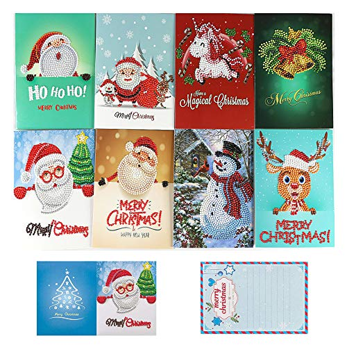 (OWAY 8 Pack Christmas Cards Diamond Painting Kits Paint by Number Kits Christmas DIY Gift for Holiday, Friends and Family)