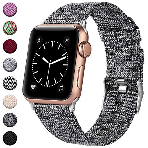 - Haveda Bands Compatible with Apple Watch Band 38mm 40mm, Woven Fabric Canvas Wrist Band for Women Men with iWatch Series 4 Series 3/2/1, Dark Gray