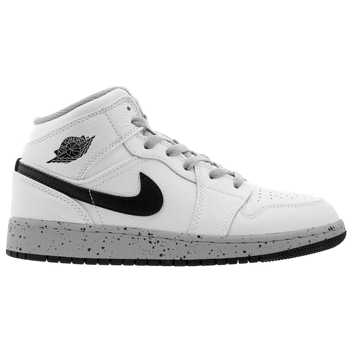 5d2df107f9a6e Amazon.com | Nike Jordan Youth 1 Mid Bg Leather White Black Wolf ...