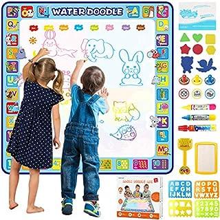 Tobeape 100 X 100 cm Extra Large Aqua Magic Doodle Mat, Colorful Educational Water Drawing Doodling Mat Coloring Mat for Kids Toddlers Boys Girls Age of 2 3 4 5 6 7 8