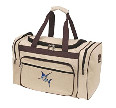 3a5d80da9f43 Image Unavailable. Image not available for. Color  Mens Embroidered Blue  Marlin Juco Duffle Bag ...