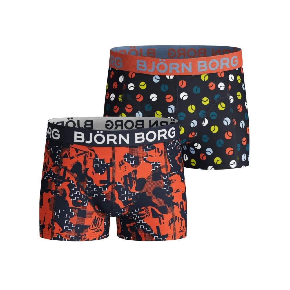 Bjorn Borg 2-Pack NY Shades & Tennis Balls Boys Boxer Trunks, Navy/Multi
