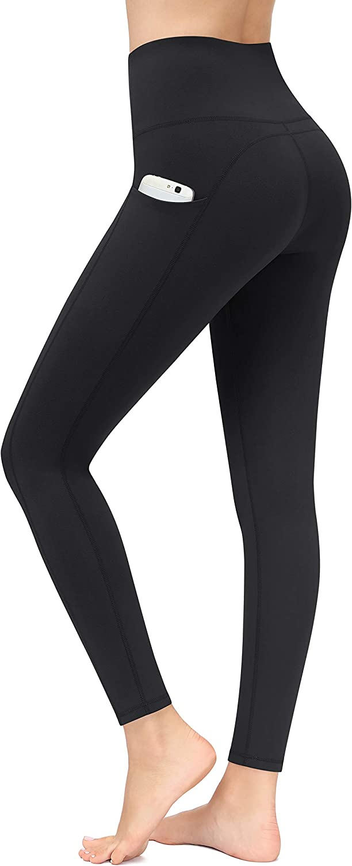 PHISOCKAT Women's Yoga Pants with Pockets, High Waist Tummy Control Leggings, Workout 4 Way Stretch Capris Yoga Leggings