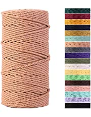 Macrame Cord 3mm Natural Cotton Macrame Rope Cotton Cord for Handmade Macrame Supplies, Wall Hanging, Plant Hangers, Crafts, Knitting, Decorative Projects …