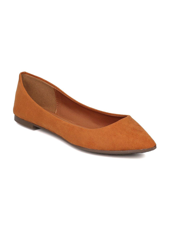 Breckelle's Women Faux Suede Pointy Toe Ballet Flat GH13 B06XYV1HMP 8 M US|Tan