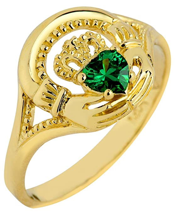 Amazon.com: 14 K Amarillo Oro Claddagh Promise anillo con el ...