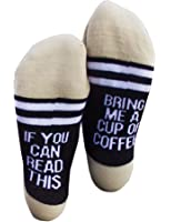 Fuzzy Socks L&ZZ Unisex Funny Saying Knitting Word Combed Cotton Crew Coffee Socks for Men Women
