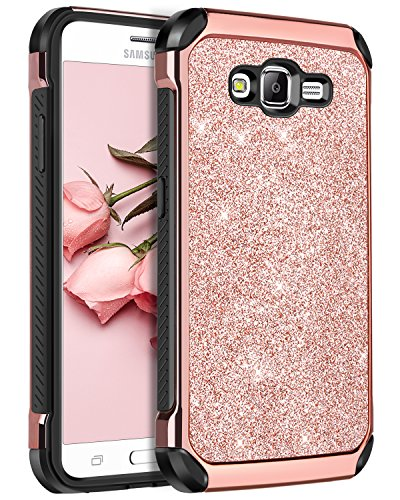 Galaxy On5 Case,Samsung Galaxy On5 Case,BENTOBEN 2 in 1 Leather Glitter Bling Hybrid Slim Hard Cover Sparkly Shiny Chrome Shockproof Fully Protective Case for Samsung Galaxy On5/G550T,Rose Gold
