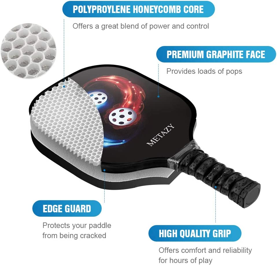 METAZY Pickleball Paddle – Graphite Pickleball Racket Lightweight Pickleball Paddle Set with Honeycomb Composite Core Comfort Cushion Grip Edge Guard ...
