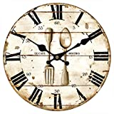 wood fork and spoon wall art - Upuptop Vintage Retro Style Spoon Fork Bistro Home Kitchen Decorative Wooden Round Wall Clock Restaurant 16inch