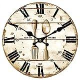 Upuptop Vintage Retro Style Spoon Fork Bistro Home Kitchen Decorative Wooden Round Wall Clock Restaurant 16inch