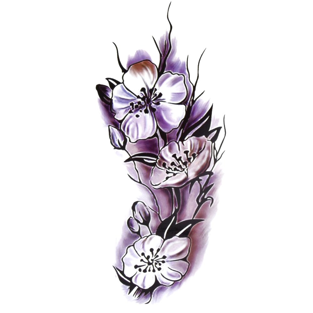 TAFLY Black Flower Tattoo Realistic Body Temporary Tattoo Stickers for Women 5 Sheets