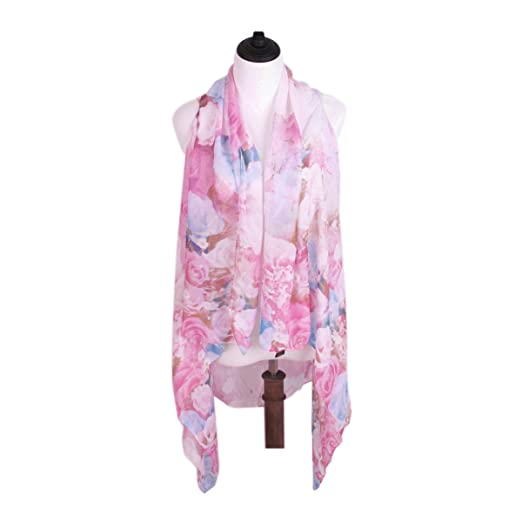 6c2c113fd0a TrendsBlue Floral Chiffon Kimono Scarf Wrap Vest Beach Cover Up, Blue