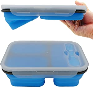 fancyfree Collapsible Silicone Benton Container, Leakproof Lunch Box with 3 Compartments, BPA Free Safe Food Storage Organizer (Blue)