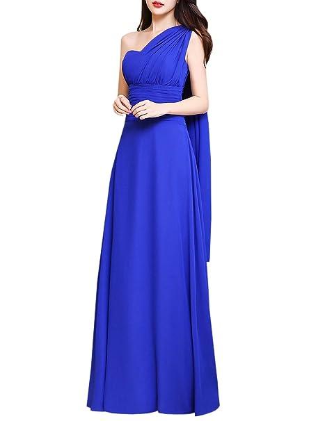 Azbro Mujer Multi-modo Vestido de Fiesta Largo Encantador Sin Mangas,azul real M