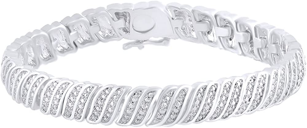 0.25 CT Round White Natural Diamond Womens Bracelet In 14k Gold Over Sterling Silver