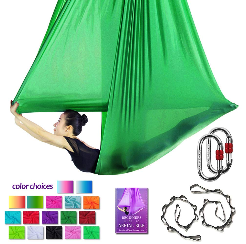 Aerial Yoga Hammock L:5M W:2.8M Aerial Pilates Silk Yoga Swing Set with 2000 Ibs Load Include Carabiner,Daisy Chain, Pose Guide (Deep Green)