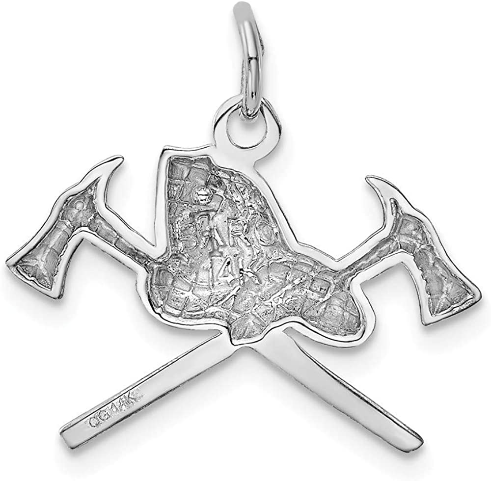 14K White Gold Fire Department Charm Pendant from Roy Rose Jewelry