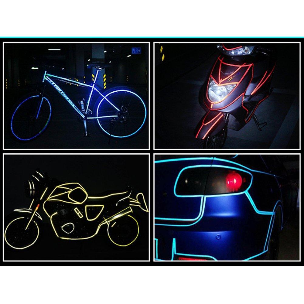 Color Rojo Cinta Adhesiva Reflectante de Advertencia de Seguridad para Bicicleta Ndier